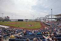 A general view of Modern Woodmen Park during a game between the Quad Cities River Bandits and Great Lakes Loons on April 29, 2013 in Davenport, Iowa. (Brace Hemmelgarn/Four Seam Images)