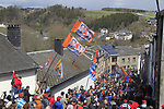 Fans await the arrival of the riders on the climb of Cote de Saint-Roch during the 98th edition of Liege-Bastogne-Liege, running 257.5km from Liege to Ans, Belgium. 22nd April 2012.  <br /> (Photo by Eoin Clarke/NEWSFILE).