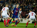 Ivan Rakitic of FC Barcelona (L2) in action during the La Liga 2017-18 match between FC Barcelona and Sevilla FC at Camp Nou on November 04 2017 in Barcelona, Spain. Photo by Vicens Gimenez / Power Sport Images
