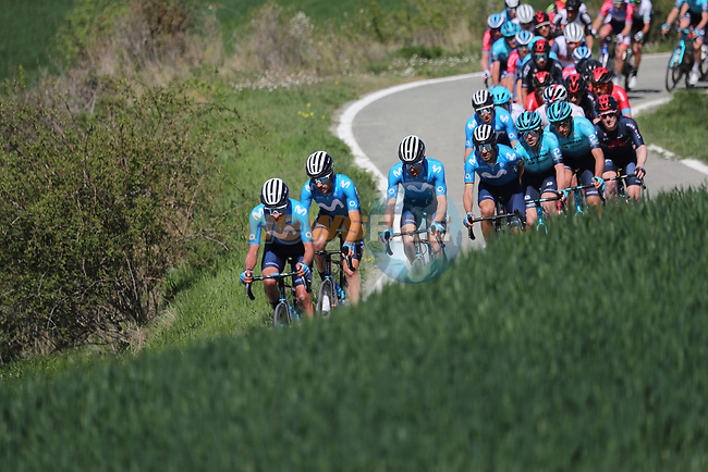 The peloton led by Movistar Team in action during the Gran Premio Miguel Indurain 2021, running 203.2km from Estella to Lizarra, Spain. 3rd April 2021.  <br /> Picture: Luis Angel Gomez/Photogomezsport | Cyclefile<br /> <br /> All photos usage must carry mandatory copyright credit (© Cyclefile | Luis Angel Gomez/Photogomezsport)