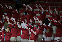 Arkansas band raise their arms, Saturday, January 9, 2021 during the second half of a basketball game at Bud Walton Arena in Fayetteville. Check out nwaonline.com/210110Daily/ for today's photo gallery. <br /> (NWA Democrat-Gazette/Charlie Kaijo)