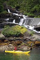 Kayaking in Hidden Bay, Prince William Sound, Chugach National Forest, Alaska.