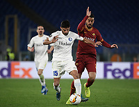 Football Soccer: UEFA Europa League round of 32 first leg AS Roma vs KAA Gent, Olympic stadium, Rome, 20 February, 2020.<br /> Gent's Milad Mohammadi (l) in action with Roma's Leonardo Spinazzola (r) during the Europa League football match between Roma and Gent at the Olympic stadium in Rome on 20 February, 2020.<br /> UPDATE IMAGES PRESS/Isabella Bonotto
