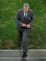 Mexico Manager Javier Aguirre looks upset as he walks off the field at full-time