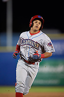 Clearwater Threshers Emmanuel Marrero (33) rounds the bases after hitting a home run during a game against the Dunedin Blue Jays on April 8, 2017 at Florida Auto Exchange Stadium in Dunedin, Florida.  Dunedin defeated Clearwater 12-6.  (Mike Janes/Four Seam Images)