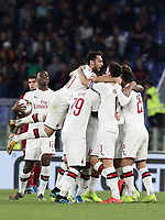 Football, Serie A: AS Roma - AC Milan, Olympic stadium, Rome, October 27, 2019. <br /> Milan's Theo Hernandez celebrates after scoring with his teammates during the Italian Serie A football match between Roma and Milan at Olympic stadium in Rome, on October 27, 2019. <br /> UPDATE IMAGES PRESS/Isabella Bonotto