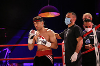 19th December 2020, Hamburg, Germany; Universal Boxing Promotion fight, Felix Sturm versus Timo Rost; Rost is lifted for the next round by his corner