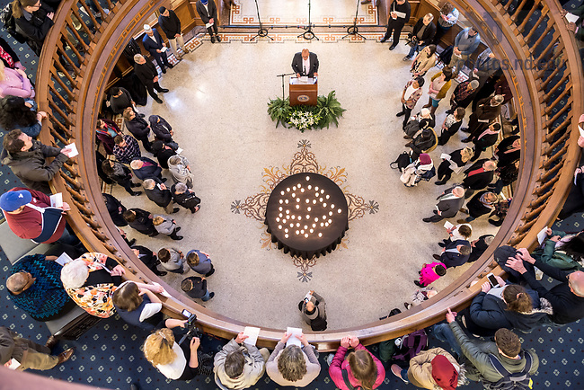 March 21, 2019; Ebrahim Moosa gives a closing reflection at a prayer service in memory of the victims of the Mar. 15 New Zealand mosque attacks. (Photo by Matt Cashore/University of Notre Dame)
