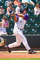 Daniel Wagner #5 of the Winston-Salem Dash follows through on his swing against the Wilmington Blue Rocks at BB&T Ballpark on April 24, 2011 in Winston-Salem, North Carolina.   Photo by Brian Westerholt / Four Seam Images