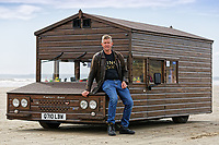 "Pictured: Kevin Nicks with his Fastest Shed in Pendine, west Wales, UK. Saturday 12 May 2018<br /> Re: A motorised shed has broken its own land speed record on a Welsh beach as it hit over 100mph.<br /> The Fastest Shed smashed its previous 80mph (129km/h) record for the fastest shed at a land speed event at Pendine Sands in Carmarthenshire.<br /> Its owner, gardener Kevin Nicks said it was ""marvellous"" to hit 101.043mph (160 km/h) in what he said was the only road legal shed with an engine in the world.<br /> Mr Nicks, from Chipping Norton in Oxfordshire, created his bespoke shed on wheels, which now boasts a turbo-charged 450 brake horsepower turbo engine that is more powerful than many sports cars."