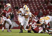Tennessee running back Jabari Small (20) carries the ball, Saturday, November 7, 2020 during a football game at Donald W. Reynolds Razorback Stadium in Fayetteville. Check out nwaonline.com/201108Daily/ for today's photo gallery. <br /> (NWA Democrat-Gazette/Charlie Kaijo)