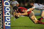 Munster number 8 Tommy O'Donnell dives over under the post to score his second try of the match..Celtic League.Cardiff Blues v Munster.02.11.12.©Steve Pope