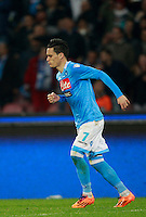 Calcio, Serie A: Napoli vs Juventus. Napoli, stadio San Paolo, 30 marzo 2014. <br /> Napoli forward Jose' Maria Callejon, of Spain, celebrates after scoring during the Italian Serie A football match between Napoli and Juventus at Naples' San Paolo stadium, 30 March 2014.<br /> UPDATE IMAGES PRESS/Isabella Bonotto