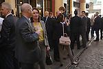 City office business men women office workers lunch time drink. Leadenhall Market City of London EC3 UK.