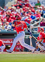29 February 2020: St. Louis Cardinals catcher Yadier Molina at bat as designated hitter during a Spring Training game against the Washington Nationals at Roger Dean Stadium in Jupiter, Florida. The Cardinals defeated the Nationals 6-3 in Grapefruit League play. Mandatory Credit: Ed Wolfstein Photo *** RAW (NEF) Image File Available ***