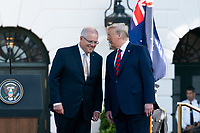 President Donald J. Trump speaks with Australian Prime Minister Scott Morrison following their remarks at the official State Visit welcome ceremony Friday, Sept. 20, 2019, on the South Lawn of the White House. (Official White House Photo by Andrea Hanks)