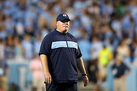 CHAPEL HILL, NC - SEPTEMBER 07: Co-Defensive Coordinator and Safeties Coach Jay Bateman of the University of North Carolina during a game between University of Miami and University of North Carolina at Kenan Memorial Stadium on September 07, 2019 in Chapel Hill, North Carolina.
