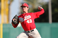 Pitcher Theron Minium #43 of the Ohio State Buckeyes during the Big East-Big Ten Challenge vs. the Cincinnati Bearcats at Al Lang Field in St. Petersburg, Florida;  February 18, 2011.  Cincinnati defeated Ohio State 11-5.  Photo By Mike Janes/Four Seam Images