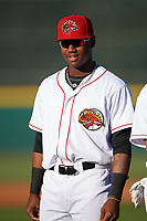 Florida Fire Frogs right fielder Ronald Acuna (27) during introductions before a game against the Daytona Tortugas on April 6, 2017 at Osceola County Stadium in Kissimmee, Florida.  Daytona defeated Florida 3-1.  (Mike Janes/Four Seam Images)