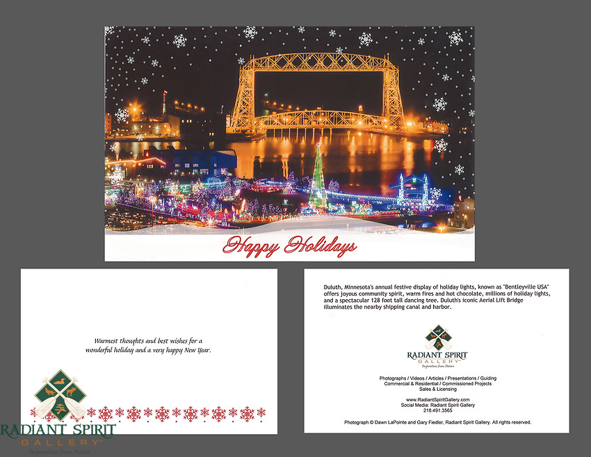 """""""Bentleyville and Aerial Lift Bridge"""" holiday cards, cards/envelopes, greeting inside, approx. 5""""x7"""" folded; individual or pack of 10"""