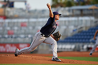 Jacksonville Jumbo Shrimp starting pitcher Nick Neidert (23) delivers a pitch during a game against the Pensacola Blue Wahoos on August 15, 2018 at Blue Wahoos Stadium in Pensacola, Florida.  Jacksonville defeated Pensacola 9-2.  (Mike Janes/Four Seam Images)