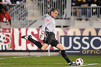 Colombia (COL) goalkeeper Faryd Mondragon (22). The men's national teams of the United States (USA) and Colombia (COL) played to a 0-0 tie during an international friendly at PPL Park in Chester, PA, on October 12, 2010.