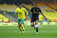 20th April 2021; Carrow Road, Norwich, Norfolk, England, English Football League Championship Football, Norwich versus Watford; João Pedro of Watford under pressure from Andrew Omobamidele of Norwich City
