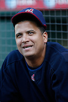 Victor Martinez of the Cleveland Indians during batting practice before a game from the 2007 season at Angel Stadium in Anaheim, California. (Larry Goren/Four Seam Images)