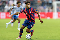 KANSAS CITY, KS - JULY 11: Nicholas Gioacchini #8 of the United States moves with the ball during a game between Haiti and USMNT at Children's Mercy Park on July 11, 2021 in Kansas City, Kansas.