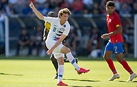 CARSON, CA - FEBRUARY 1: Brenden Aaronson #8 of the United States takes a shot during a game between Costa Rica and USMNT at Dignity Health Sports Park on February 1, 2020 in Carson, California.