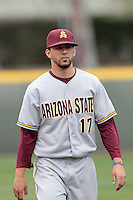 Deven Marrero #17 of the Arizona State Sun Devils before a game against the UCLA Bruins at Jackie Robinson Stadium on March 16, 2012 in Los Angeles,California. UCLA defeated Arizona State 6-5.(Larry Goren/Four Seam Images)