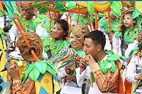 PASTO -COLOMBIA, 03-01-2016. Fundación cultural WAMANIWANKA ciudadela de Pasto durante el desfile de colectivos coreográficos del Carnaval de Negros y Blancos 2016 que se lleva a cabo entre el 2 y el 7 de enero de 2016 en la ciudad de Pasto, Colombia. / Cultural Foundation WAMANIWANKA Pasto citadel during the collective choreographic parade of the Blacks and Whites' Carnival 2016 which is held between 2 and 7 of January 2016 at Pasto, Colombia. Photo: VizzorImage / Leonardo Castro / Cont