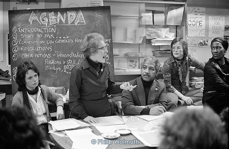 Linda Bear, Kay McNicholas, Carl Drayton, Jill Selbourne and Rosa Jones at a meeting called to resist plans by Westminster City Council to close the 510 Community Centre in North Paddington (1978).