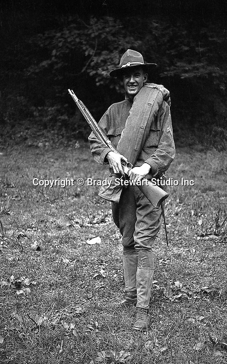 Petersburg VA:  A photo of one of Brady Stewart's friends showing off his gear;  80th Division encampment.