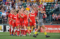 McCall Zerboni (7) of the Western New York Flash celebrates scoring with teammates during the penalty kick shootout. The Western New York Flash defeated the Philadelphia Independence 5-4 in a penalty kick shootout after playing to a 1-1 tie during the Women's Professional Soccer (WPS) Championship presented by Citi at Sahlen's Stadium in Rochester NY, on August 27, 2011.