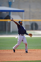 New York Yankees shortstop Jorge Mateo (28) throws to first base during a minor league Spring Training game against the Toronto Blue Jays on March 30, 2017 at the Englebert Complex in Dunedin, Florida.  (Mike Janes/Four Seam Images)