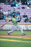 Eugene Emeralds first baseman Grant Fennell (21) follows through on his swing during a Northwest League game against the Salem-Keizer Volcanoes at Volcanoes Stadium on August 31, 2018 in Keizer, Oregon. The Eugene Emeralds defeated the Salem-Keizer Volcanoes by a score of 7-3. (Zachary Lucy/Four Seam Images)