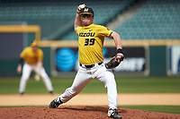 Missouri Tigers relief pitcher Lukas Veinbergs (39) in action against the Oklahoma Sooners in game four of the 2020 Shriners Hospitals for Children College Classic at Minute Maid Park on February 29, 2020 in Houston, Texas. The Tigers defeated the Sooners 8-7. (Brian Westerholt/Four Seam Images)