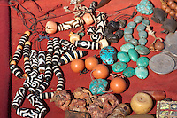 Kathmandu, Nepal.  Necklaces and Bracelets Made of Stones and Beads, for Sale Along the Stairs leading to Swayambhunath Temple.