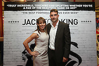 """Pictured: Former Swansea player James Thomas (R). Sunday 14 September 2014<br /> Re: Film premiere of """"Jack To A King"""" depicting the recent history pf Swansea City Football Club, at the Odeon Cinema, Swansea, south Wales, UK."""