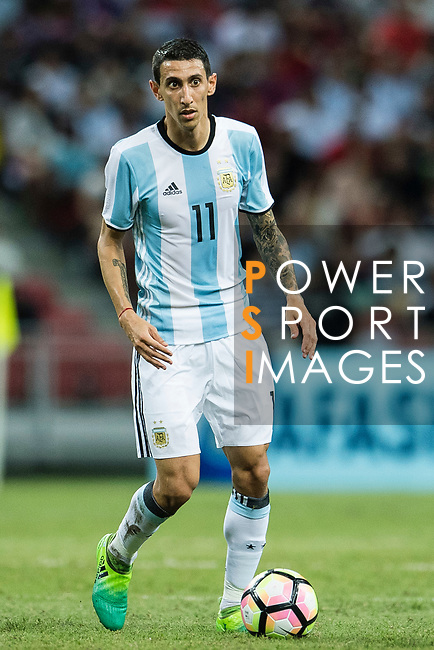Angel Di Maria of Argentina in action during the International Test match between Argentina and Singapore at National Stadium on June 13, 2017 in Singapore. Photo by Marcio Rodrigo Machado / Power Sport Images