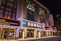 Hawai'i Theatre at night, downtown Honolulu, O'ahu.