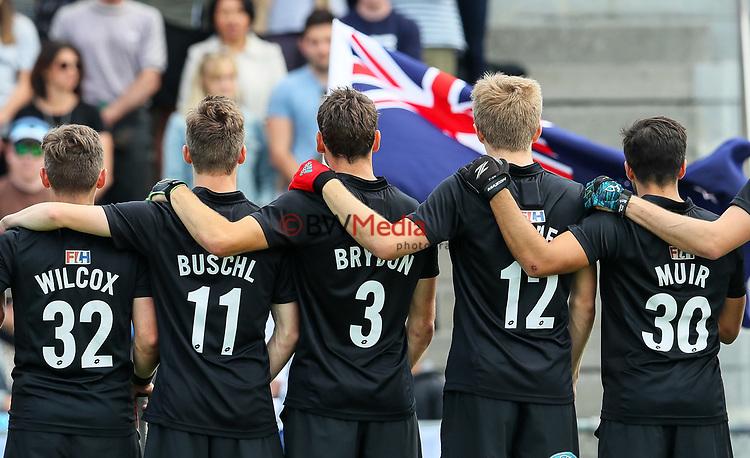 Blacksticks players during the National Anthem. International Hockey, Blacksticks men v Canada. Lloyd Elsmore Park, Auckland, New Zealand. Sunday 21 October 2018. Photo: Simon Watts/Hockey NZ
