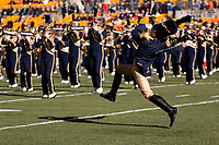 Pitt drum major John Kramer performs before the game. The Pitt Panthers upset the undefeated Miami Hurricanes 24-14 on November 24, 2017 at Heinz Field, Pittsburgh, Pennsylvania.