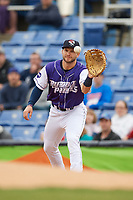 Binghamton Rumble Ponies first baseman Kevin Taylor (9) catches a throw during a game against the Akron RubberDucks on May 12, 2017 at NYSEG Stadium in Binghamton, New York.  Akron defeated Binghamton 5-1.  (Mike Janes/Four Seam Images)
