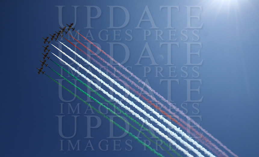 The Italian Air Force aerobatic unit Frecce Tricolori (Tricolor Arrows) perform on April 25, 2020 over Rome, on the 75th anniversary of Liberation Day, which marks the fall of Nazi occupation in 1945, during the country's lockdown aimed at curbing the spread of the COVID-19 infection, caused by the novel coronavirus.<br /> UPDATE IMAGES PRESS/Isabella Bonotto