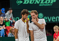 The Hague, The Netherlands, September 16, 2017,  Sportcampus , Davis Cup Netherlands - Chech Republic, Doubles : Robin Haase (NED) / Matwe Middelkoop (NED) (R)<br /> Photo: Tennisimages/Henk Koster