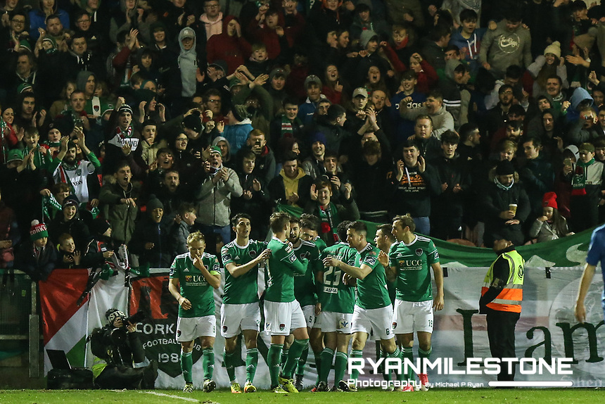 Garry Buckley celebrates with teammates after scoring Cork's second goal during the SSE Airtricity League Premier Division game between Cork City and Waterford FC on Friday 23rd February 2018 at Turners Cross. Photo By: Michael P Ryan