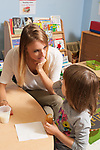 Education Preschool 3-4 year olds therapist or SEIT working with girl in classroom