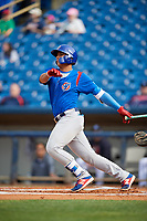 South Bend Cubs catcher Miguel Amaya (9) grounds into a double play during the first game of a doubleheader against the Lake County Captains on May 16, 2018 at Classic Park in Eastlake, Ohio.  South Bend defeated Lake County 6-4 in twelve innings.  (Mike Janes/Four Seam Images)